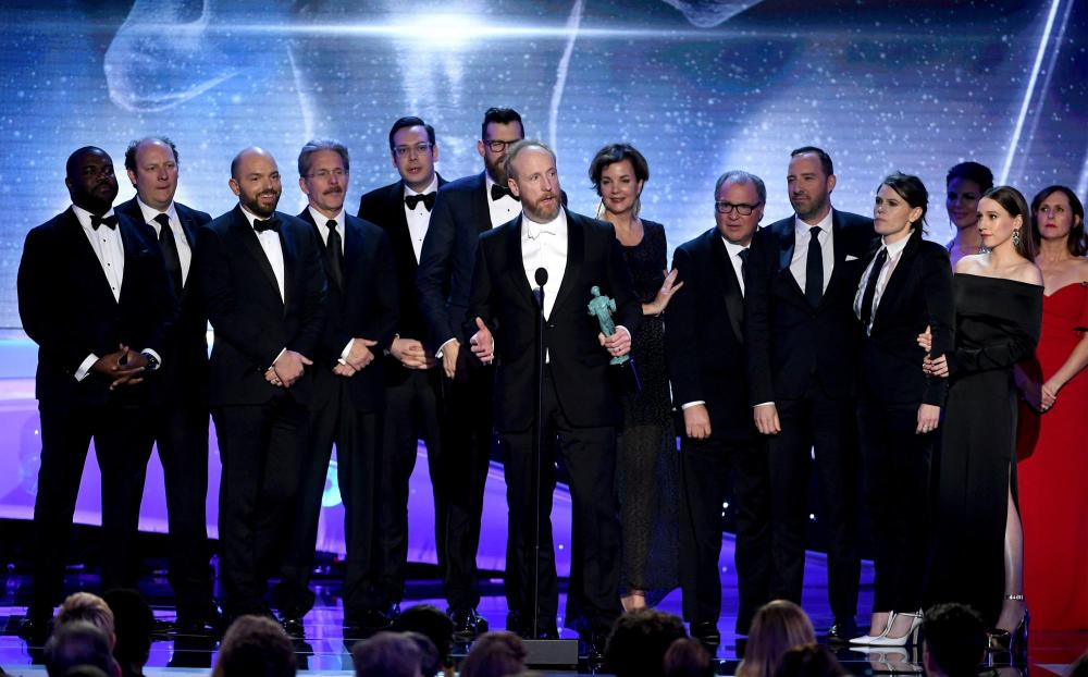 Matt Walsh (C, holding award trophy) and castmates from 'Veep' recipient SAG Awards 4Chion Lifestyle a