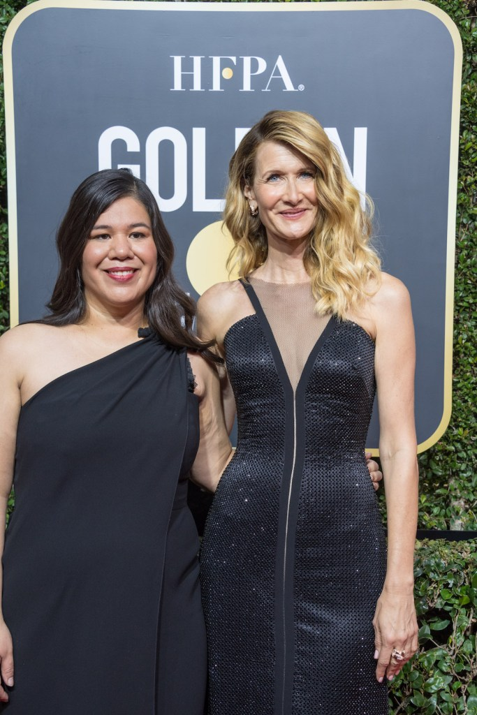 Monica Ramirez and Laura Dern arrive at the 75th Annual Golden Globe Awards 4chion lifestyle