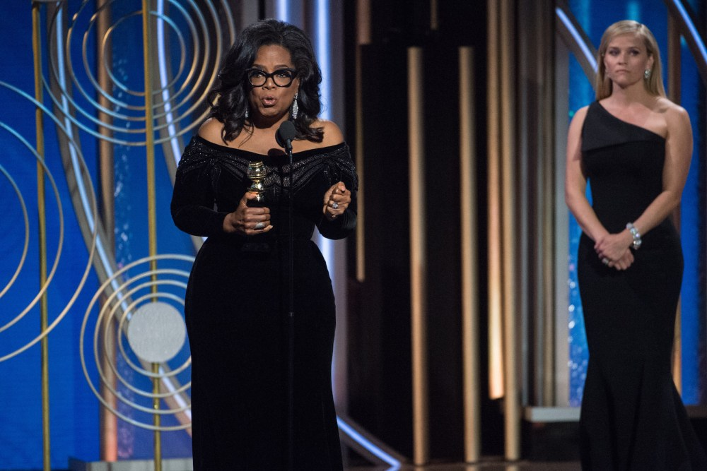 """Oprah Winfrey accepts the Cecil B. DeMille Award for her """"outstanding contribution to the entertainment field"""" at the 75th Annual Golden Globe Awards 4chion lifestyle"""