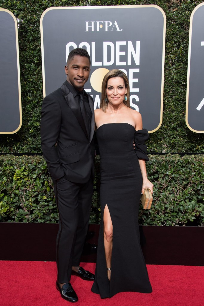 Scott Evans and Kit Hoover arrive at the 75th Annual Golden Globe Awards 4chion Lifestyle
