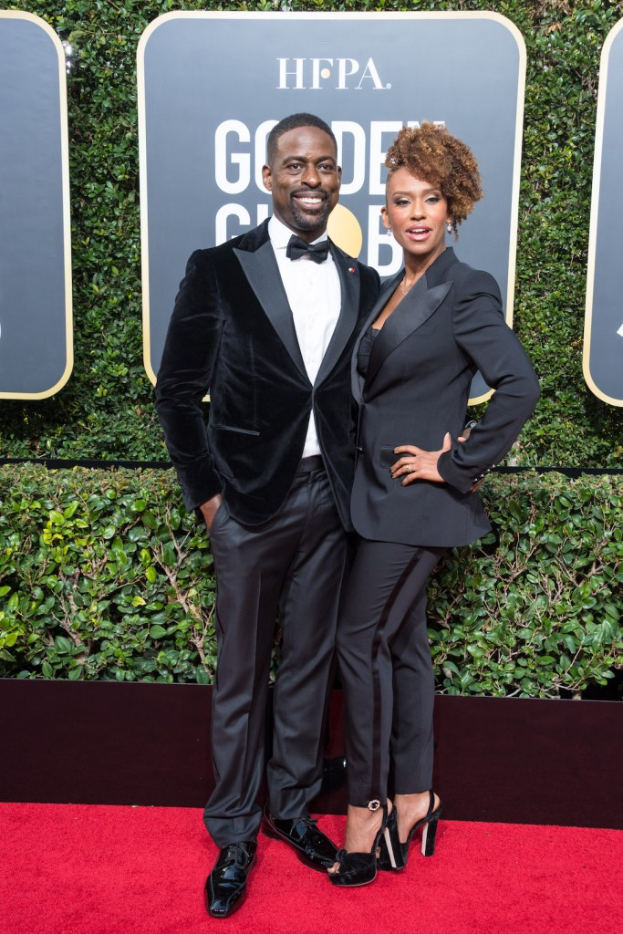 Sterling K. Brown and Ryan Michelle Bathe arrive at the 75th Annual Golden Globes Awards 4chion lifestyle