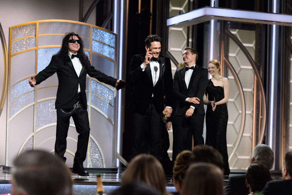 James Franco accepts the Golden Globe Award with Tommy Wiseau and Dave Franco at the 75th Annual Golden Globe Awards 4chion lifestyle