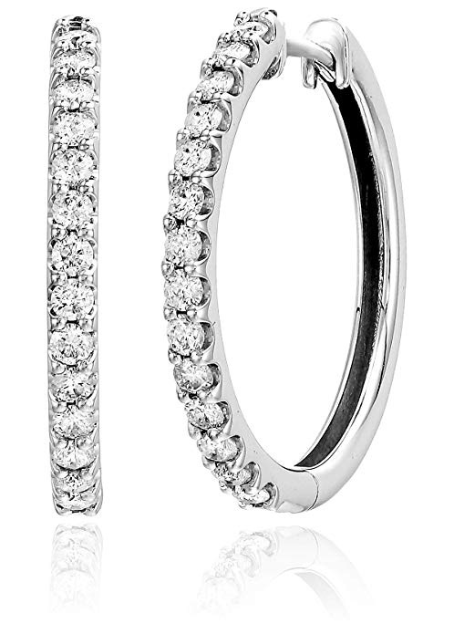 1 cttw 10K White Gold Diamond Hoop Earrings Amazon Holiday Ads 4chion Lifestyle