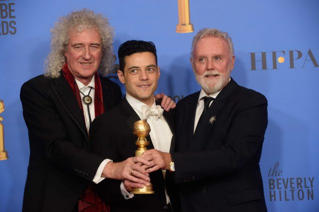 Rami Malek with Brian May and Roger Taylor Golden Globes 4chion lifestyle