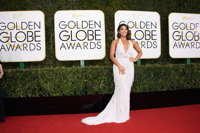 """Nominated for BEST PERFORMANCE BY AN ACTRESS IN A TELEVISION SERIES – COMEDY OR MUSICAL for her role in """"Jane the Virgin,"""" actress Gina Rodriguez attends the 74th Annual Golden Globes Awards at the Beverly Hilton in Beverly Hills, CA on Sunday, January 8, 2017."""