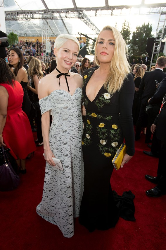 """Nominated for BEST PERFORMANCE BY AN ACTRESS IN A SUPPORTING ROLE IN A MOTION PICTURE for her role in """"Manchester by the Sea,"""" actress Michelle Williams and Busy Philipps attend the 74th Annual Golden Globes Awards at the Beverly Hilton in Beverly Hills, CA on Sunday, January 8, 2017."""