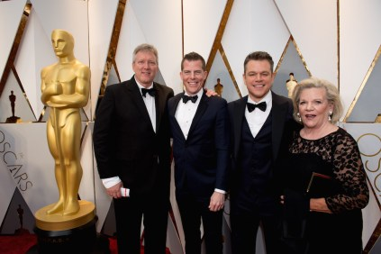Chris Moore, Kevin J. Walsh, and Matt Damon, Oscar® nominees, with guest arrive on the red carpet of The 89th Oscars® at the Dolby® Theatre in Hollywood, CA on Sunday, February 26, 2017.