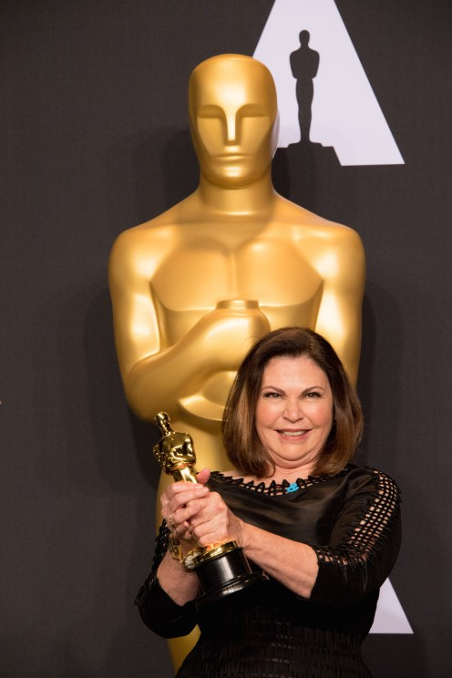 "Colleen Atwood poses backstage with the Oscar® for Achievement in costume design, for work on ""Fantastic Beasts and Where to Find Them"" during the live ABC Telecast of The 89th Oscars® at the Dolby® Theatre in Hollywood, CA on Sunday, February 26, 2017."