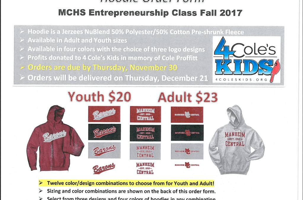 MCHS Entrepreneurship Class 2017 – Hoodie Fundraiser