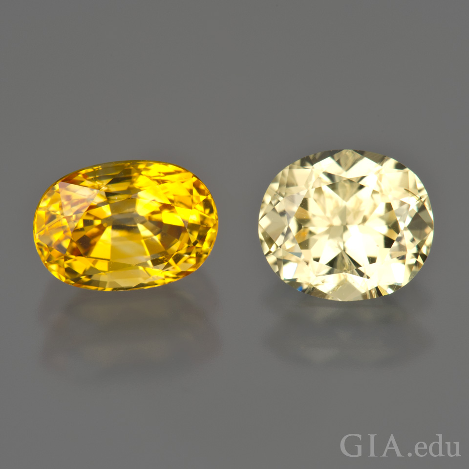 Heat treated yellow sapphire (left) and untreated yellow sapphire (right)