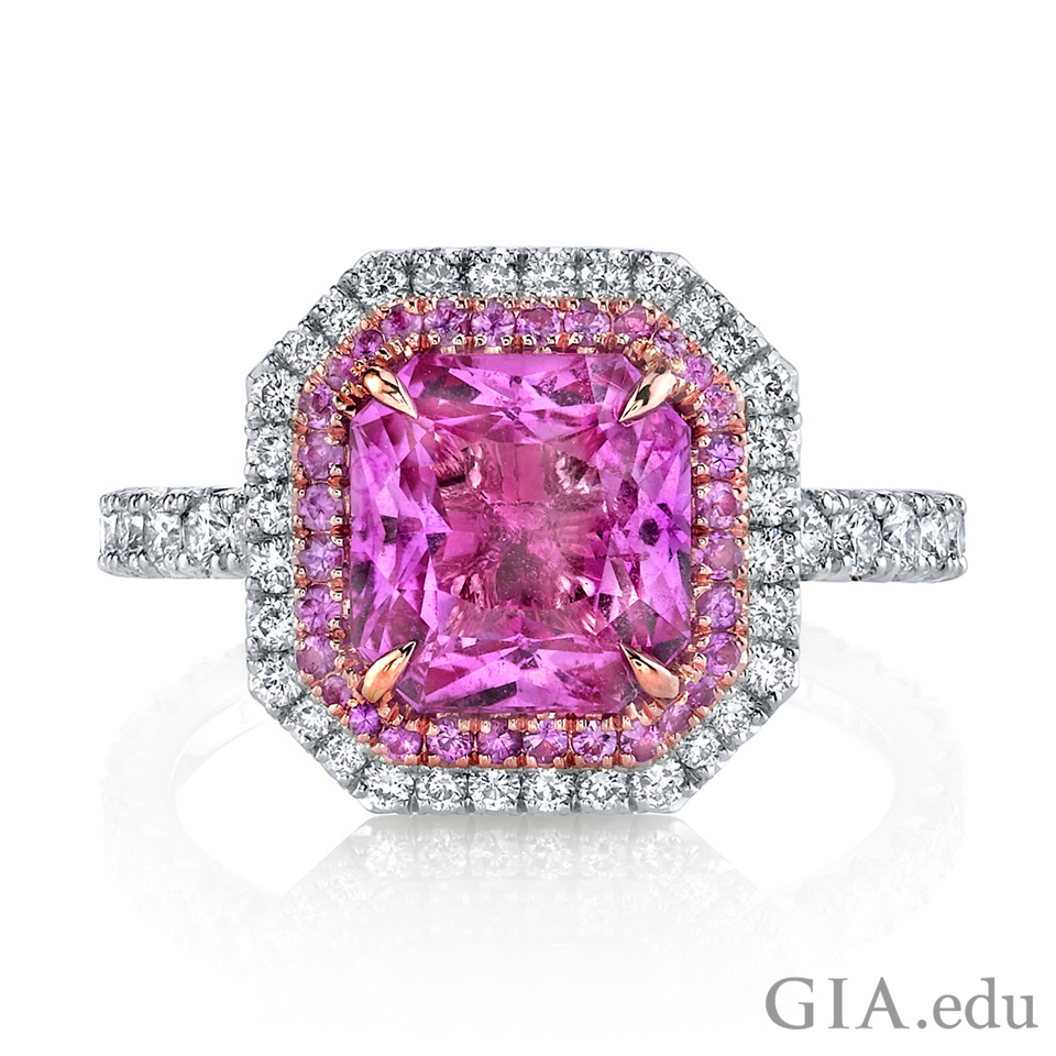 Diamond and pink sapphire ring.