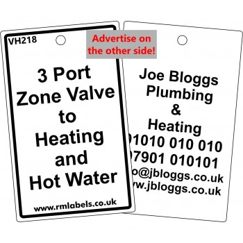 3 Port Zone Valve to Heating and Hot Water Label Code
