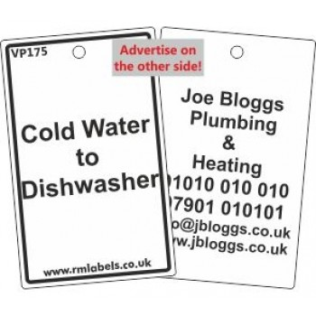 Cold Water to Dishwasher Label Code VP175