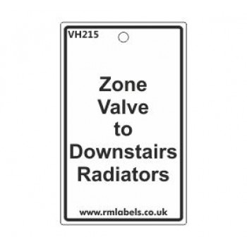 Zone Valve to Downstairs Radiators Label Code VH215