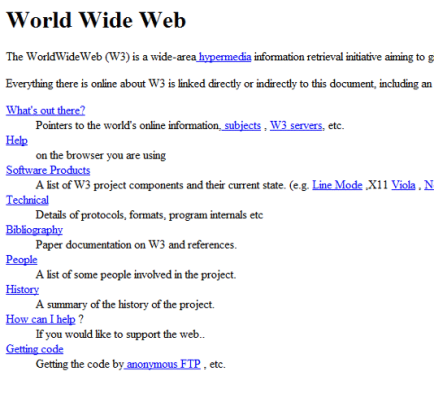 Le site web du consortium du World Wide Web (1992)