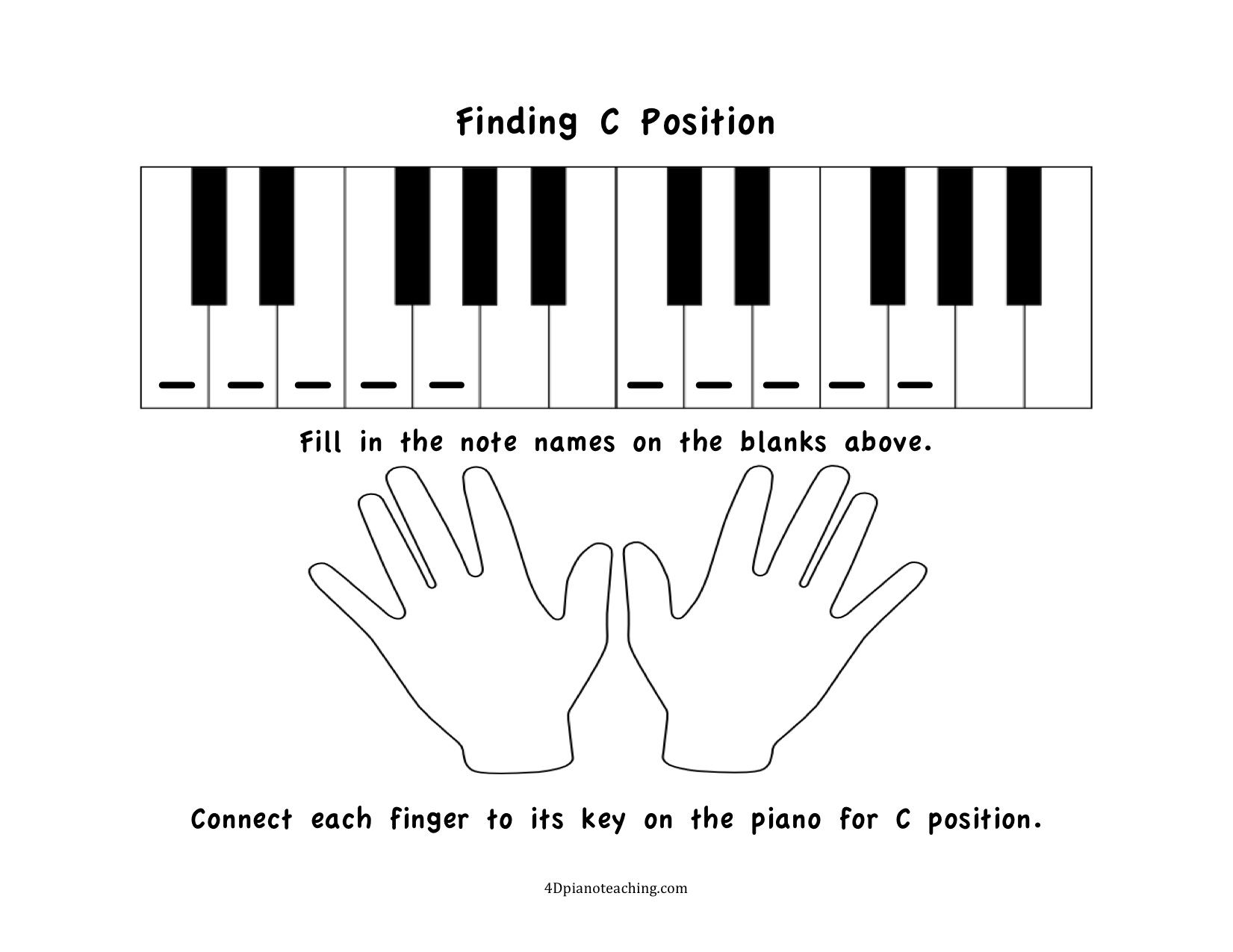 Free Printables C Position Worksheets  4dpianoteachingcom