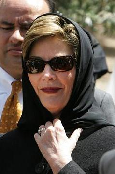 Laura Bush wearing an Islamic head scarf