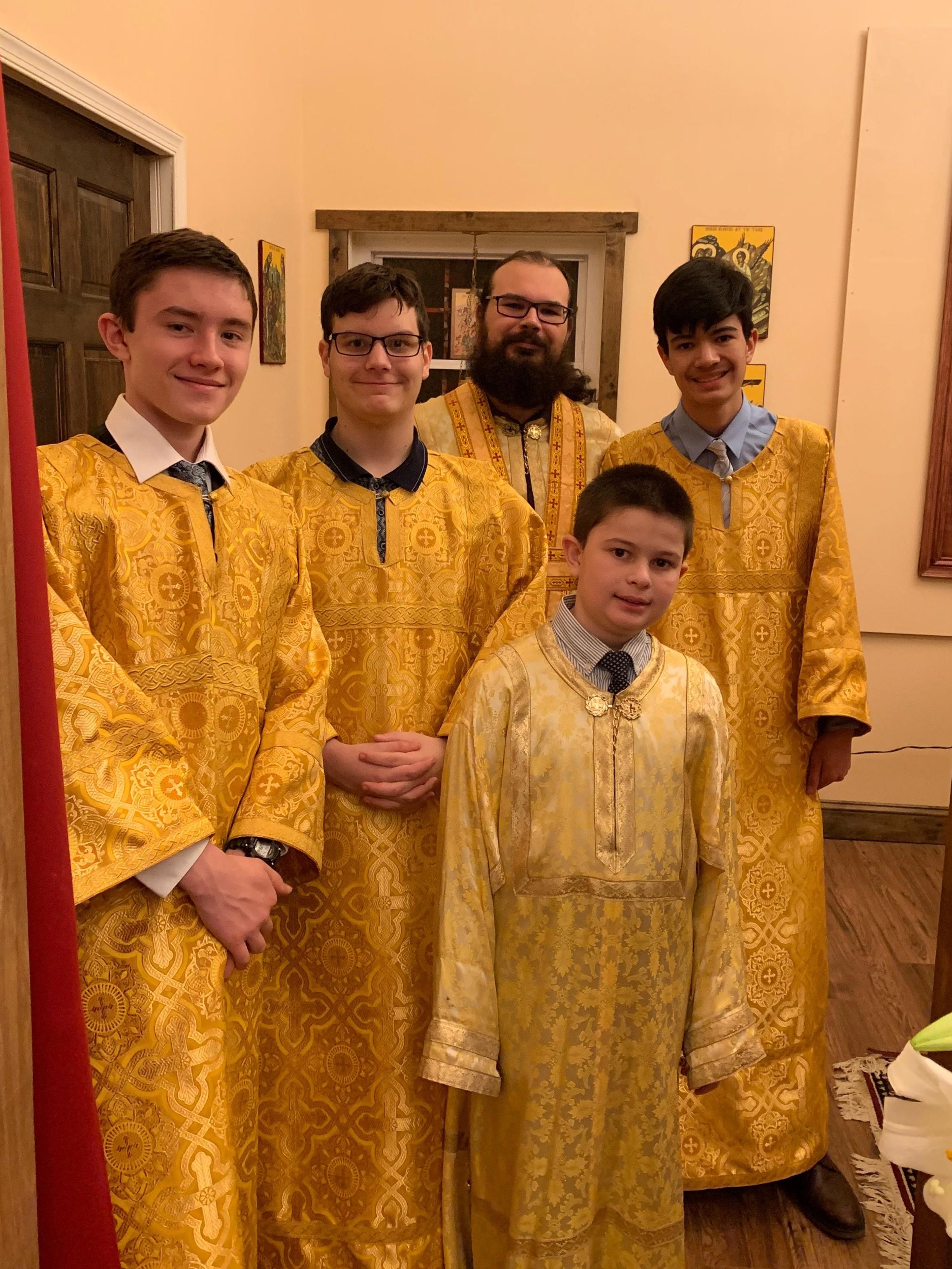 Subdeacon Nicholas Czumak and altar servers