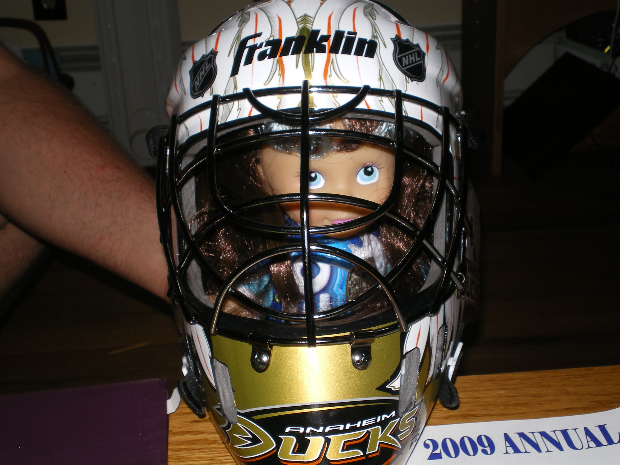 wearing Derek's goalie mask..lots of w00ts going on....