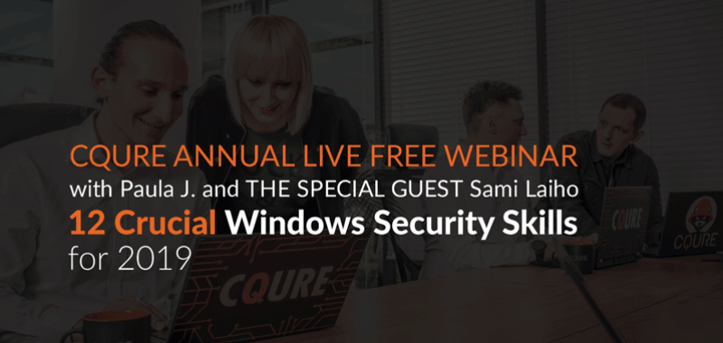 """Image result for Free Live Webinar """"12 Crucial Windows Security Skills for 2019!"""""""