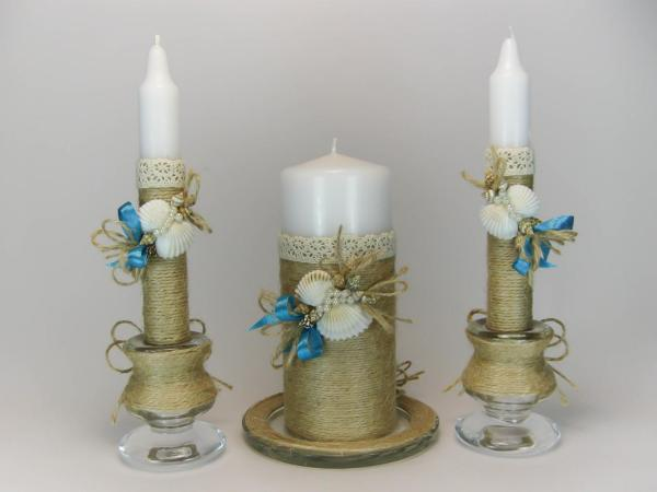 Handmade Rustic Wedding Unity Candles Seashells Beach