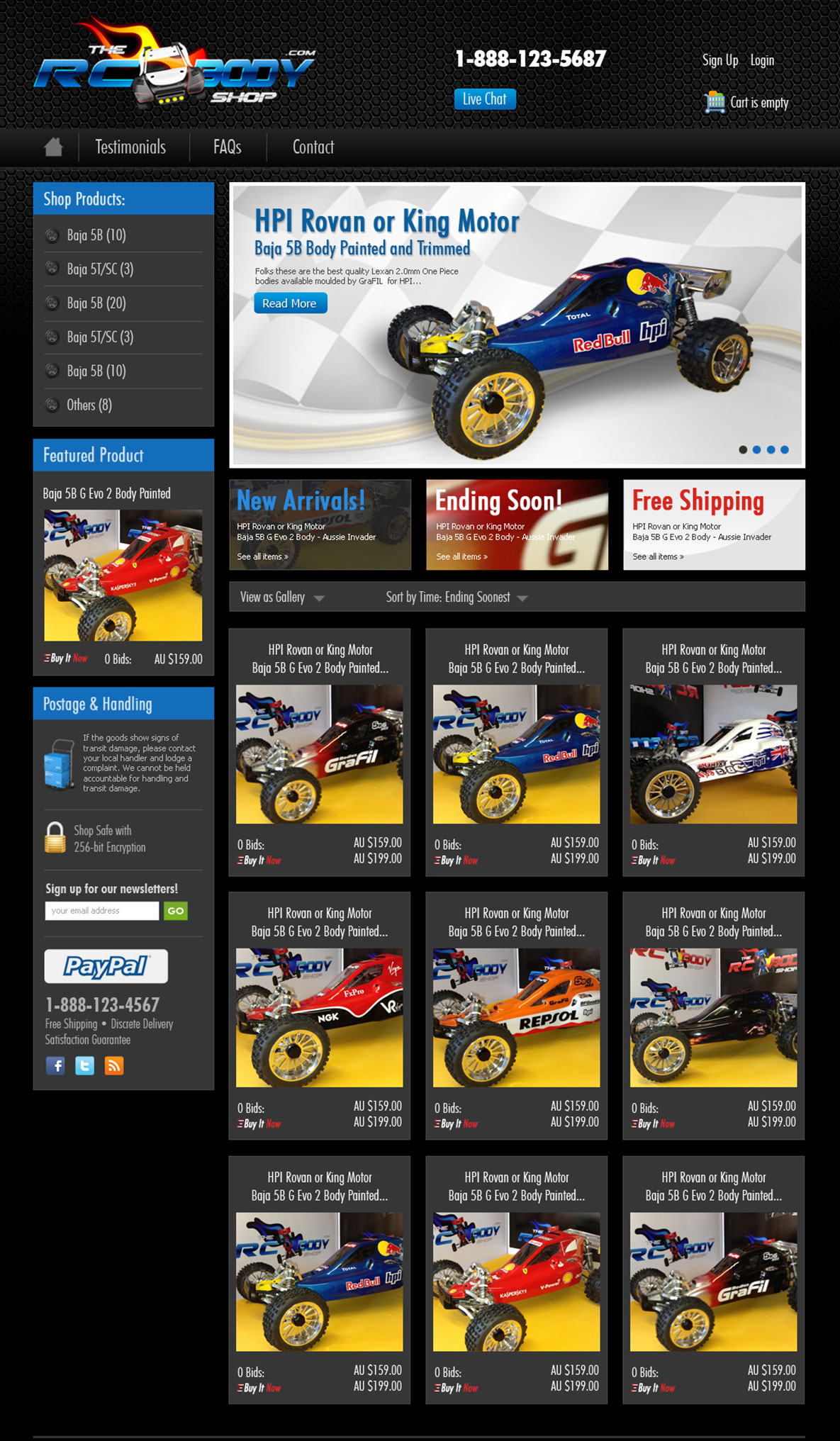 RC Body Shop - eBay Page Design