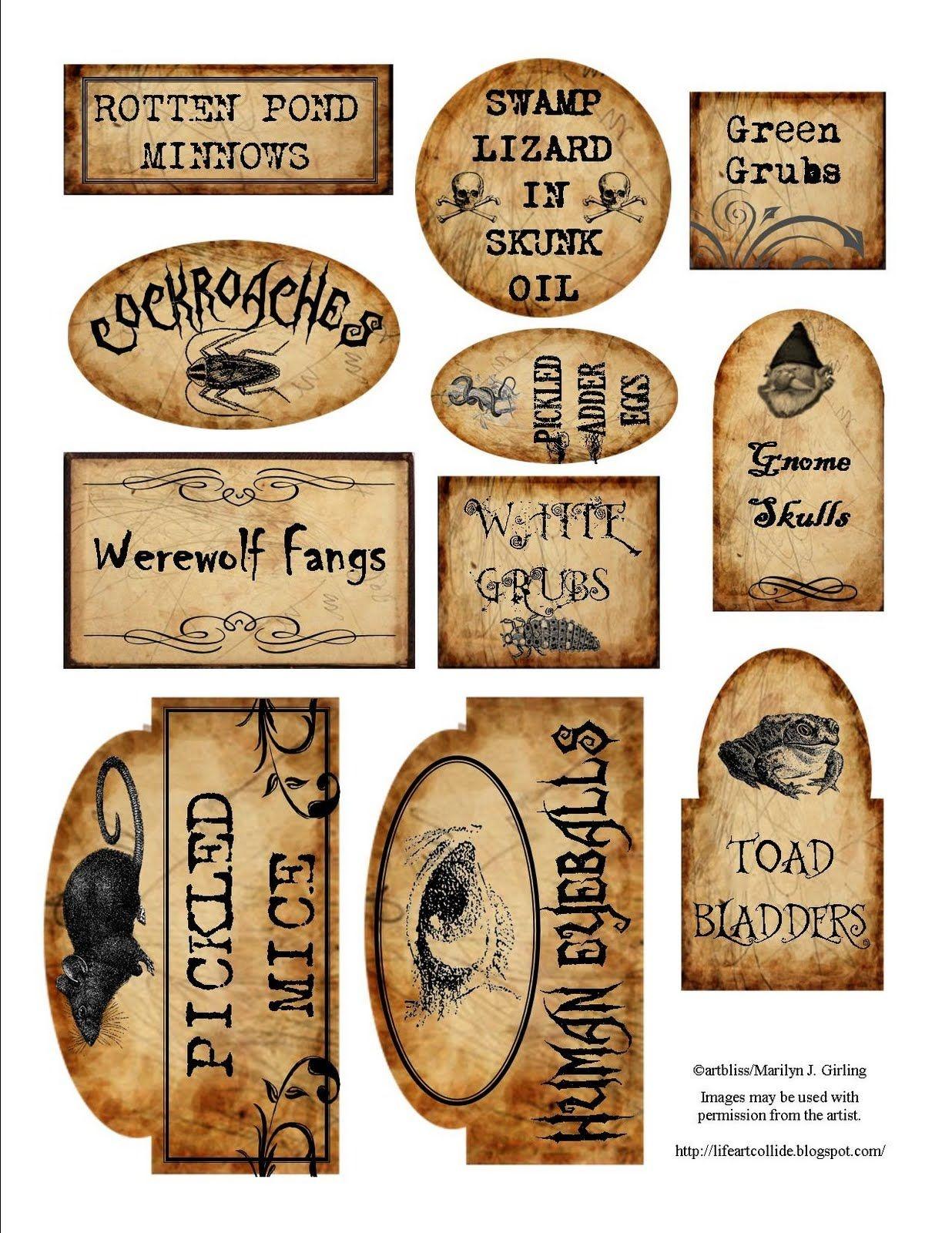 Details About Halloween Magic Steampunk Mini Bottle Labels