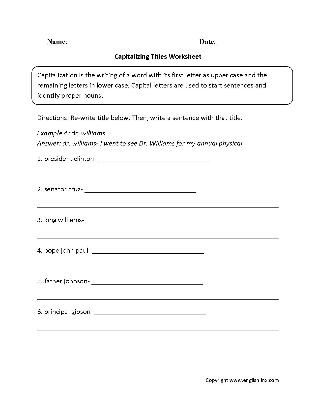 Englishlinx Capitalization Worksheets
