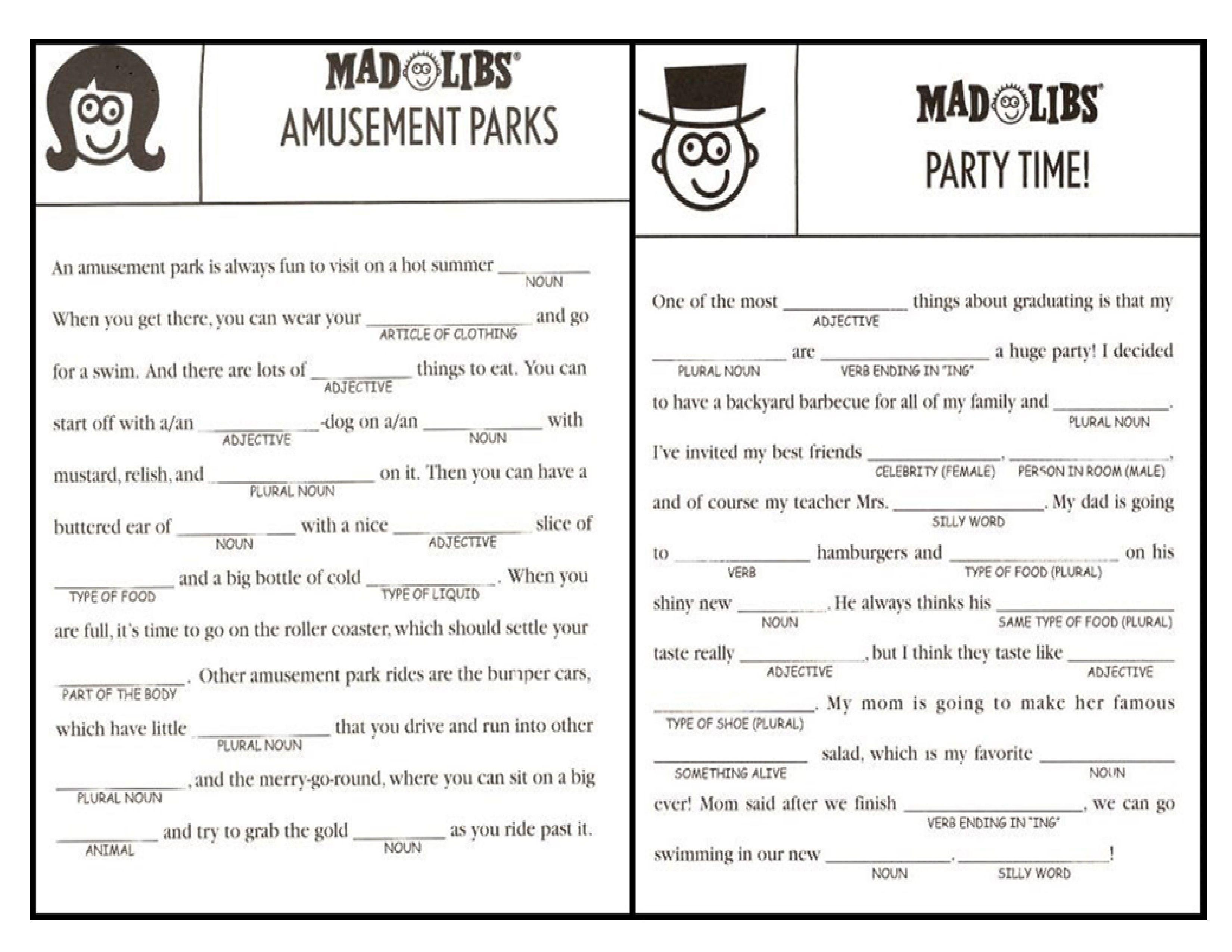 Mad Libs Online Printable Free