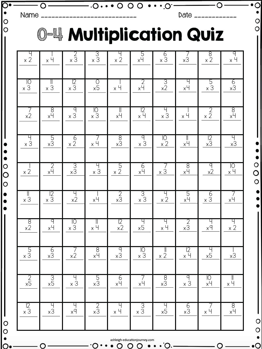 hight resolution of Printable Multiplication Worksheets Drills   Printable Worksheets and  Activities for Teachers