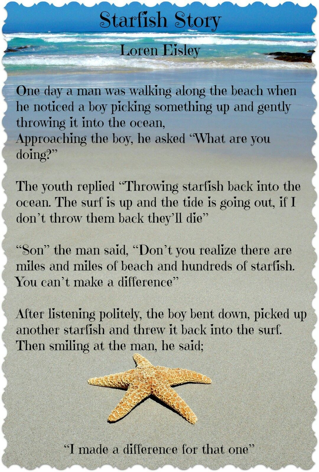 The Starfish Story You Can Make A Difference Worksheet
