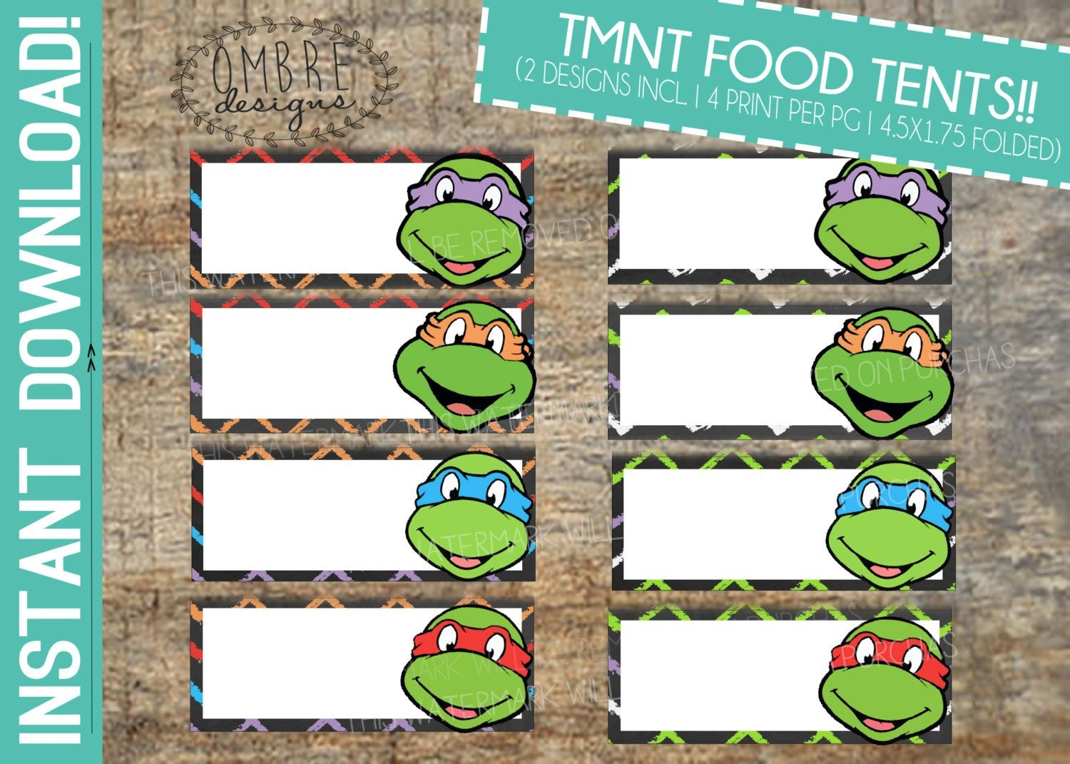 Ninja Turtles Birthday Food Table Tents Cards Blank