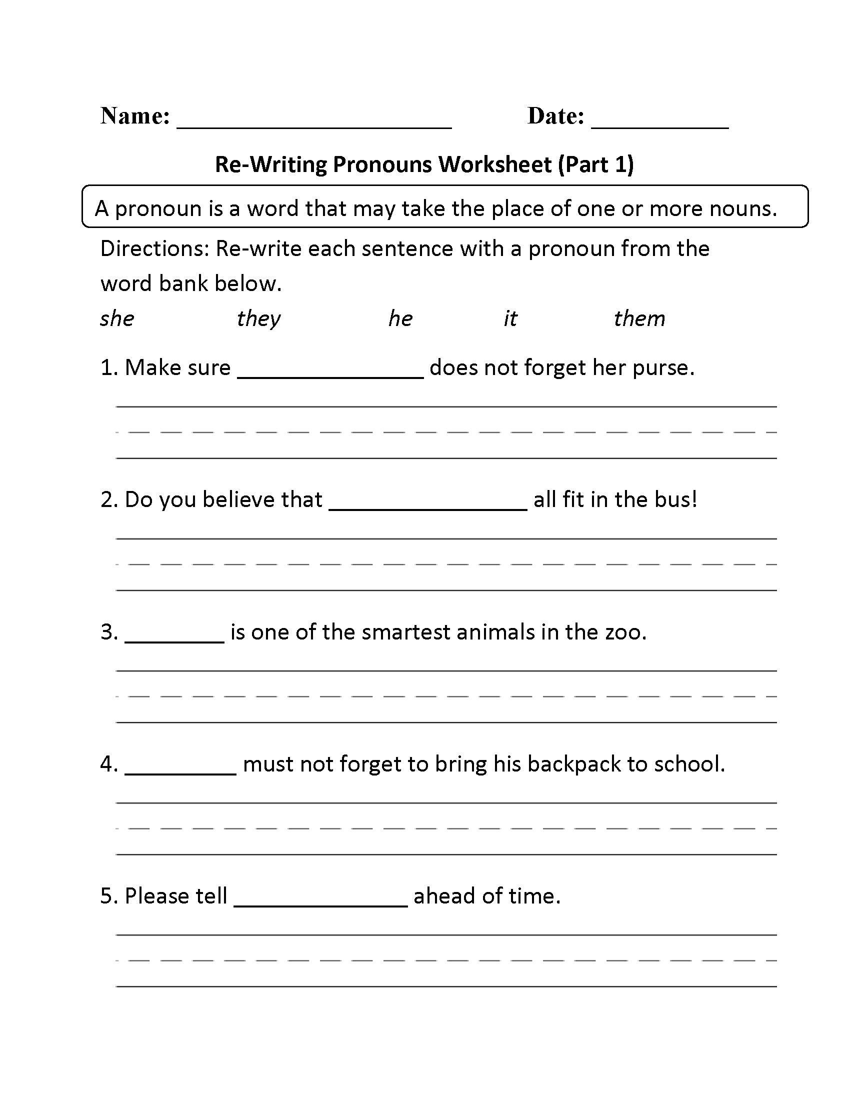 Free Printable Pronoun Worksheets For 2nd Grade