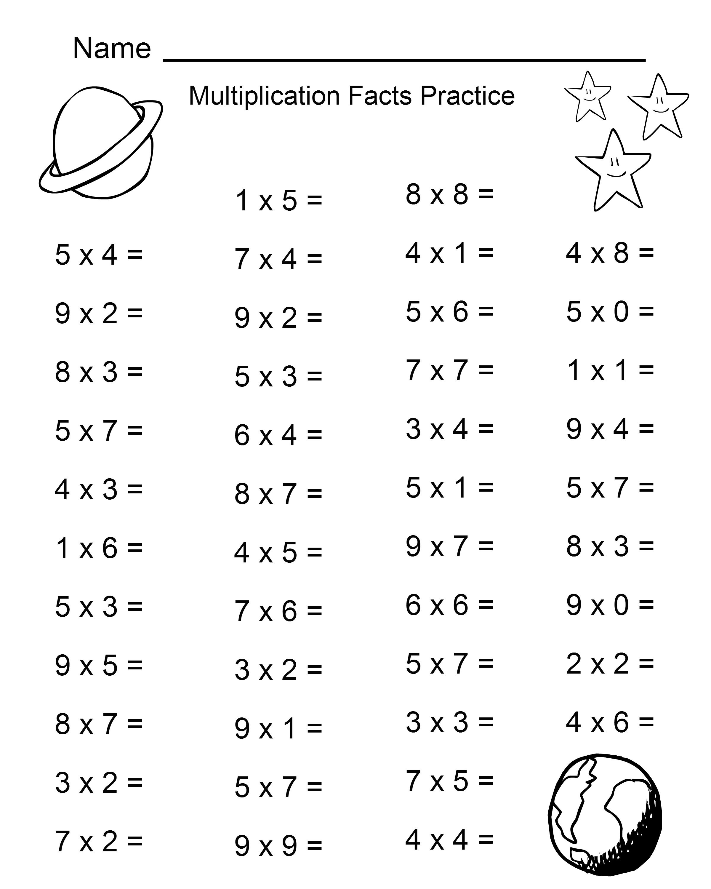 Free Printable Multiplication Worksheets For 4th Grade