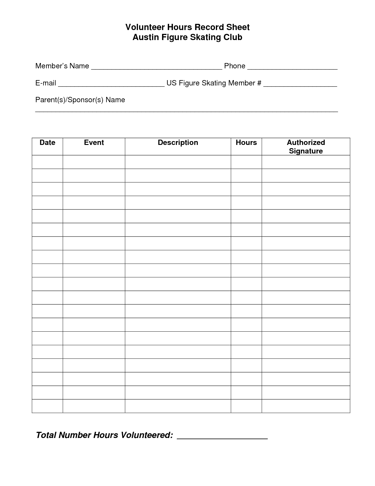 Service Hours Log Sheet Printable