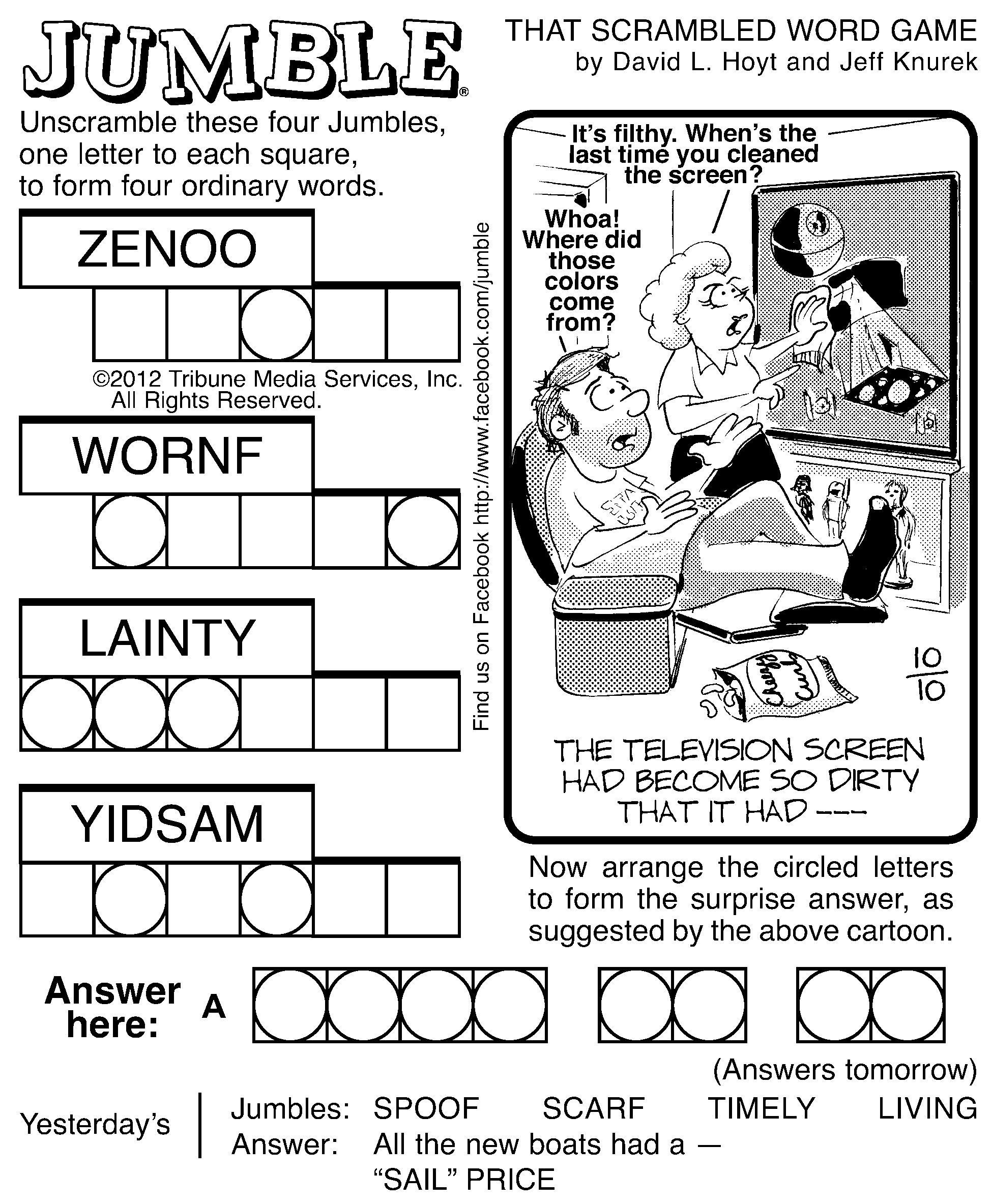 Free Printable Jumble Word Games