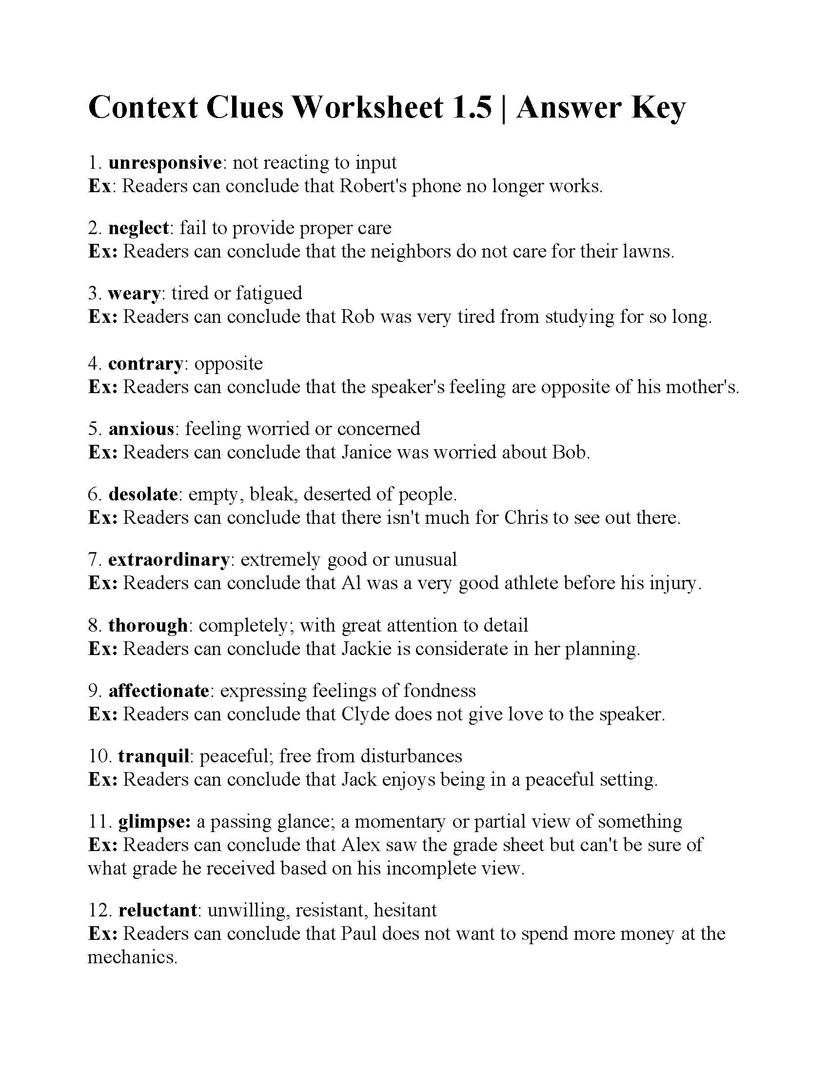 Free Printable 5th Grade Context Clues Worksheets