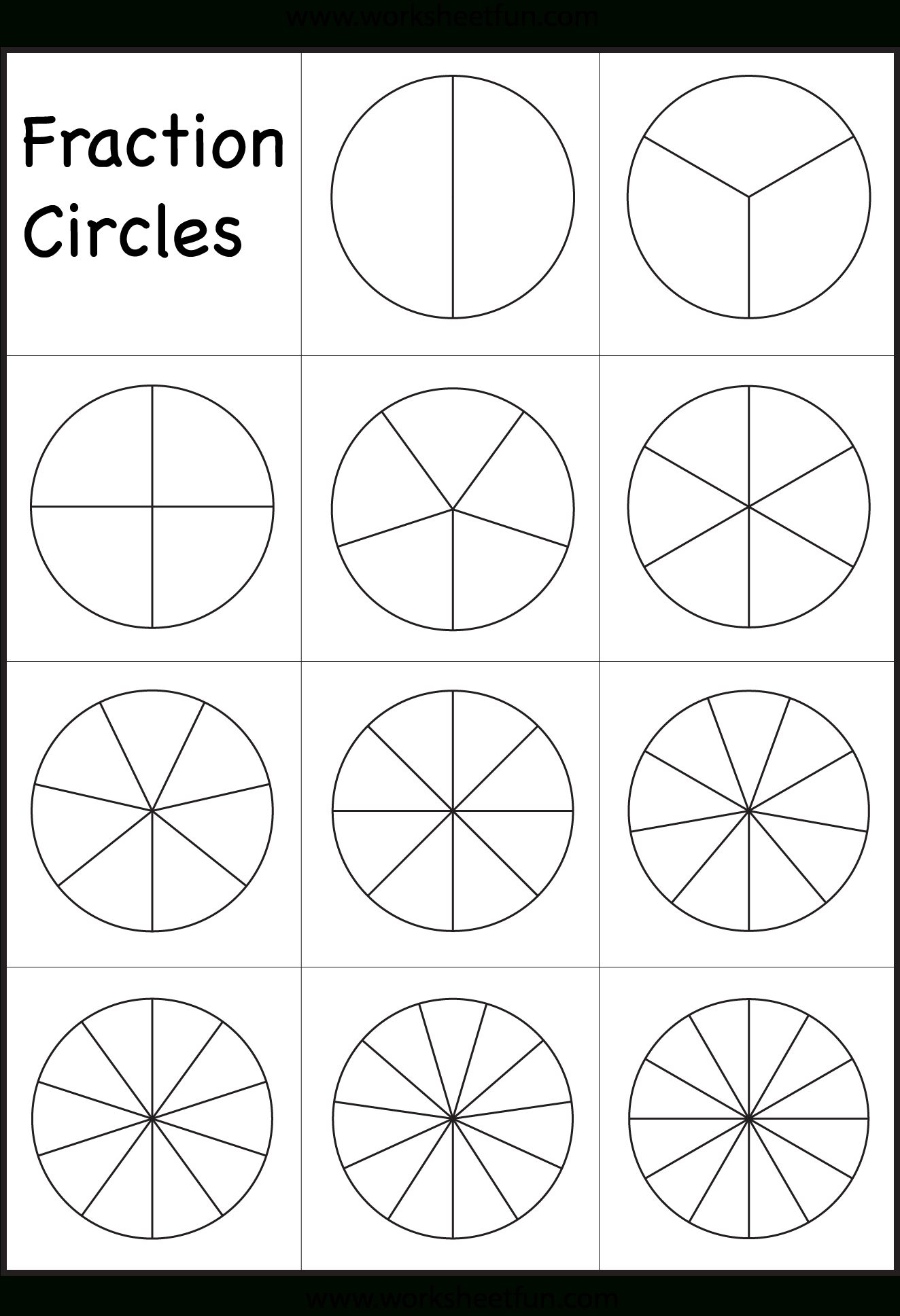 Fraction Papers Circle Fraction Template