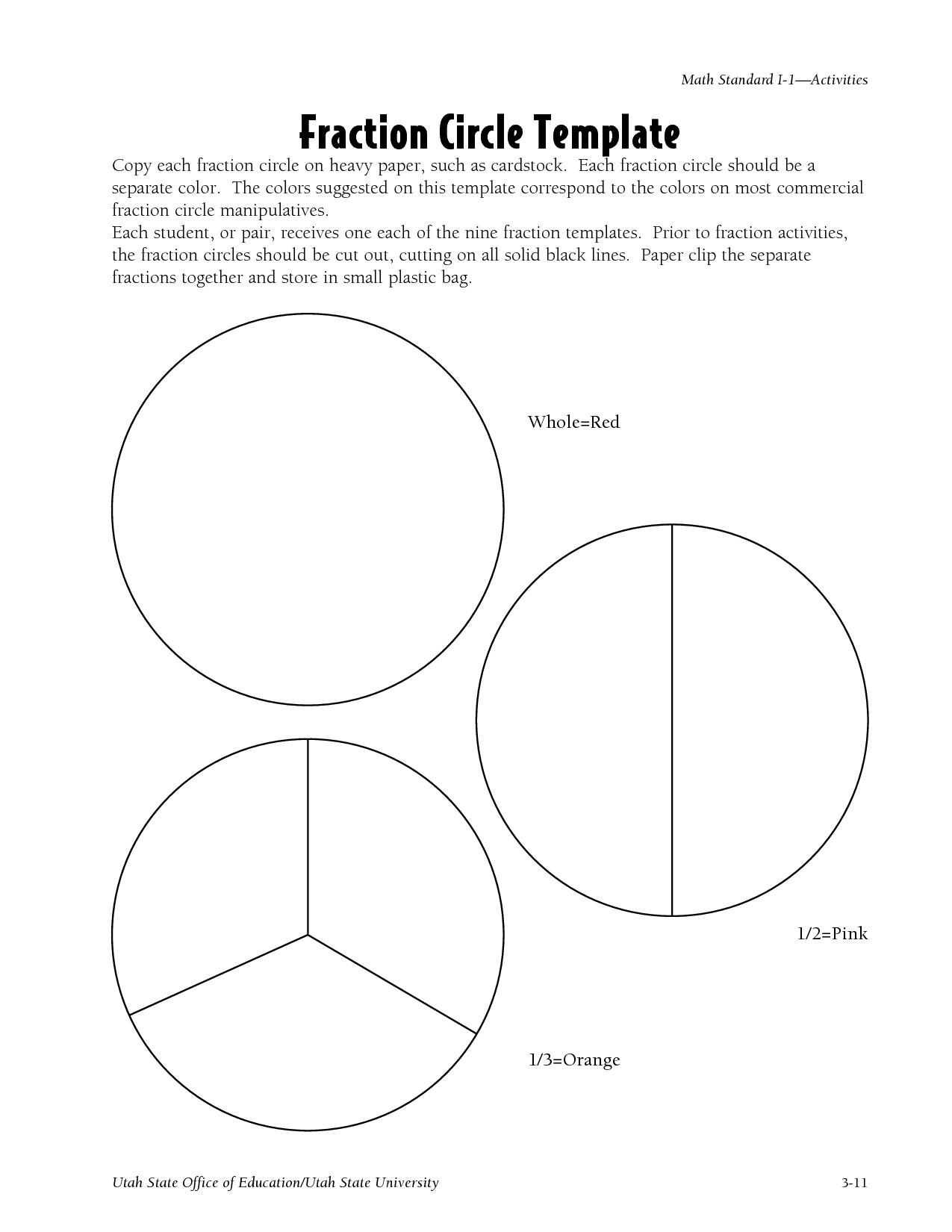Free Printable Blank Fraction Circles