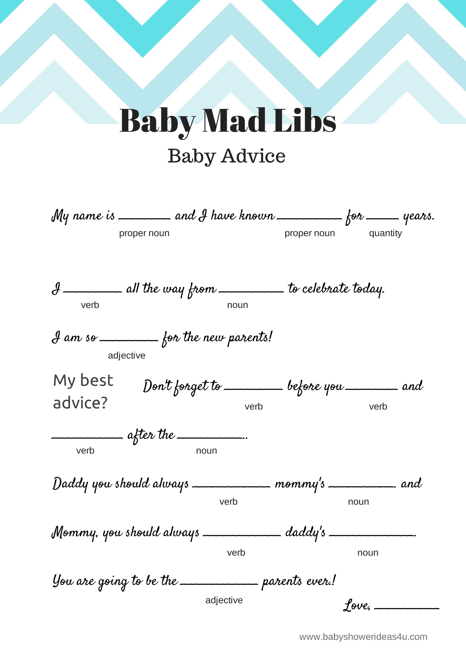 Baby Shower Mad Libs Printable Free