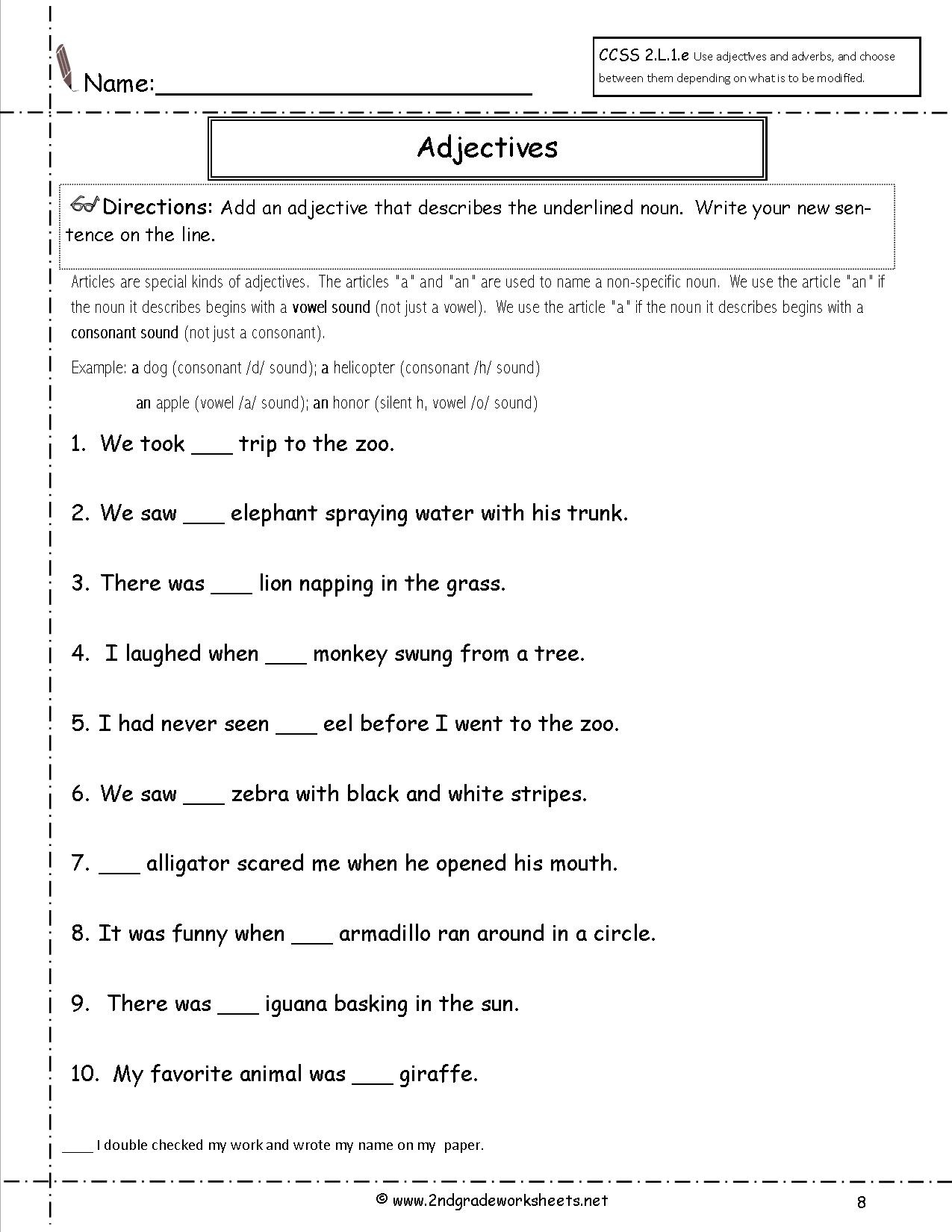 Free Printable Grammar Worksheet For Kindergarten