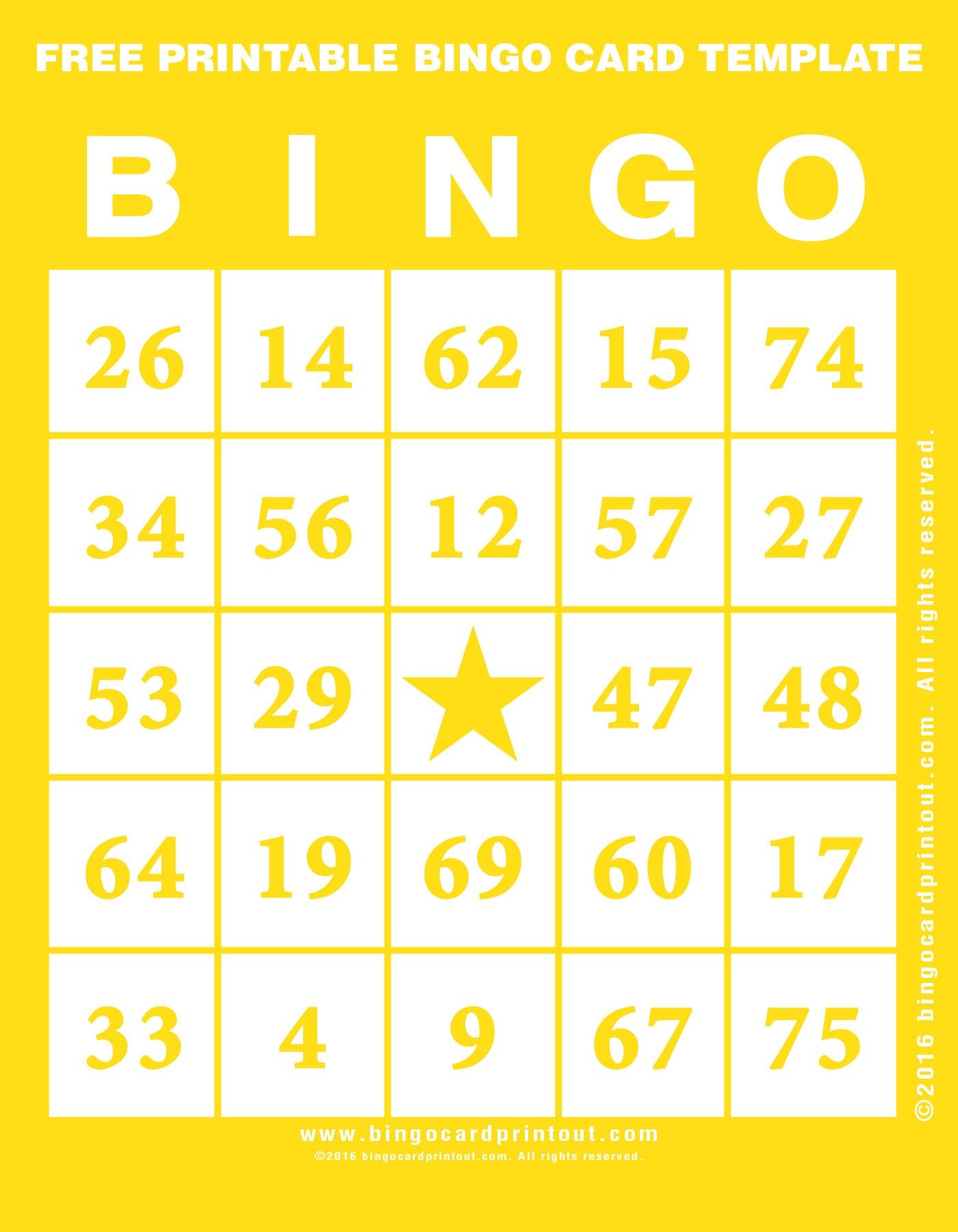 Printable Bingo Template Free