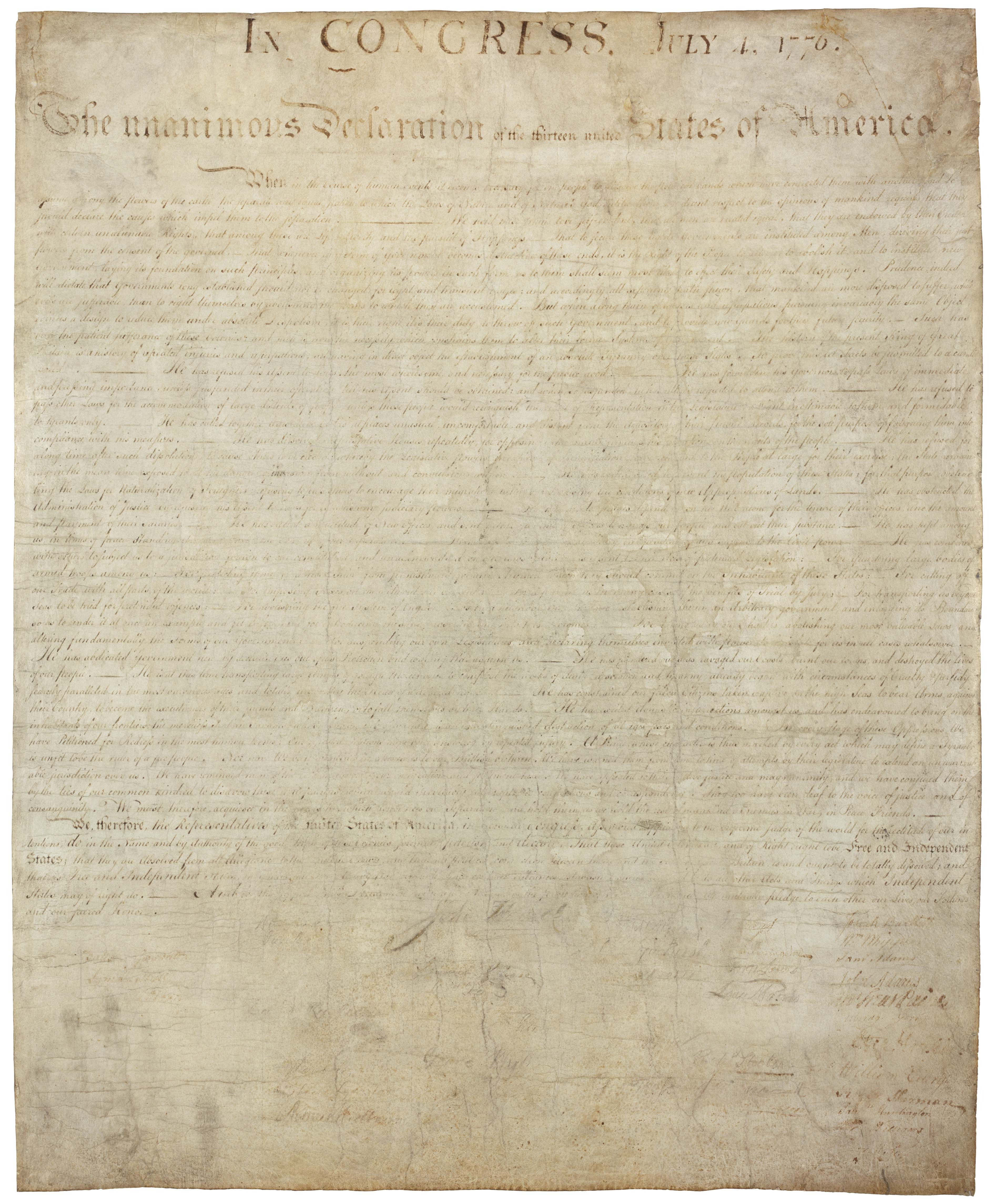 Free Printable Copy Of The Declaration Of Independence