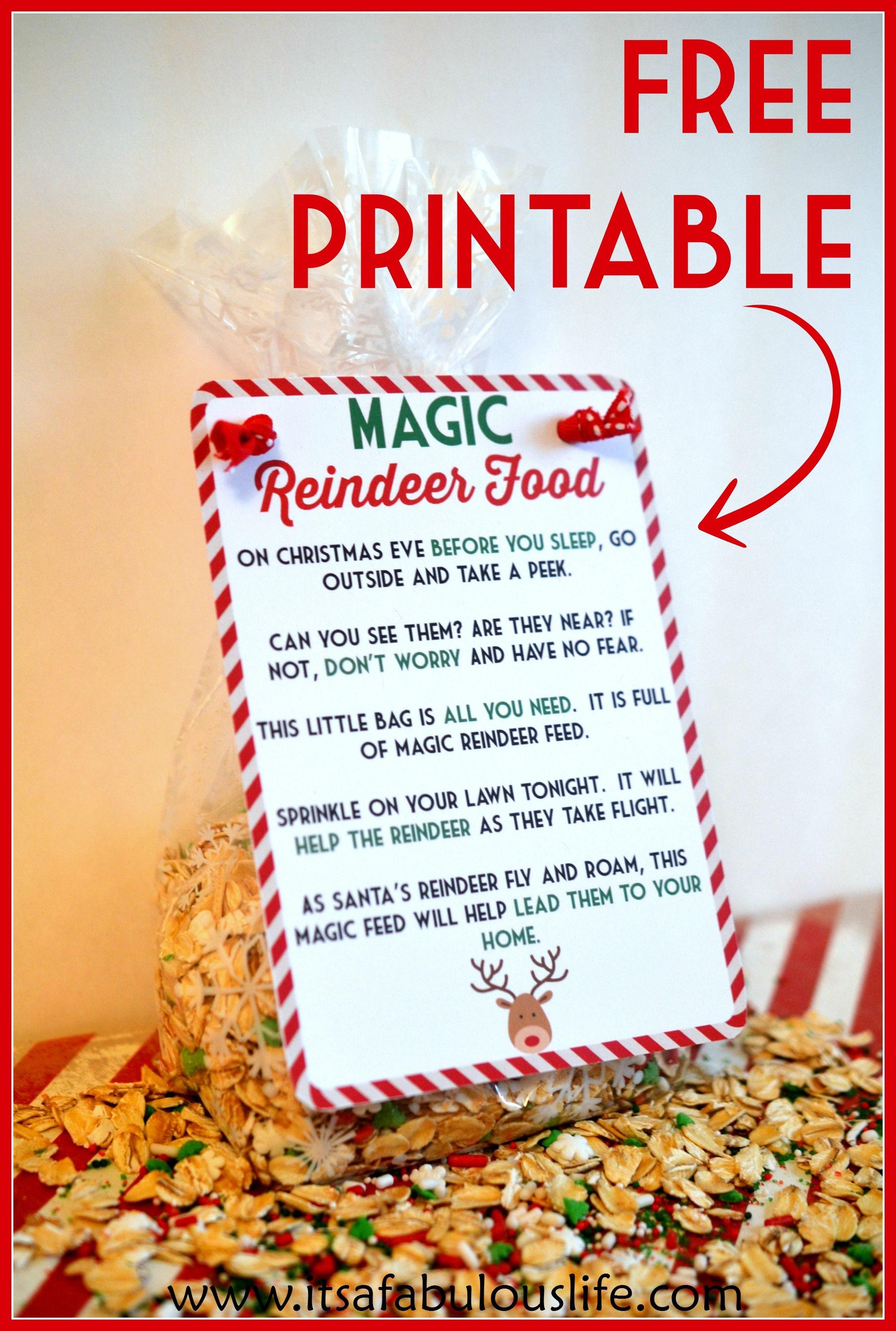 Reindeer Food Poem Free Printable