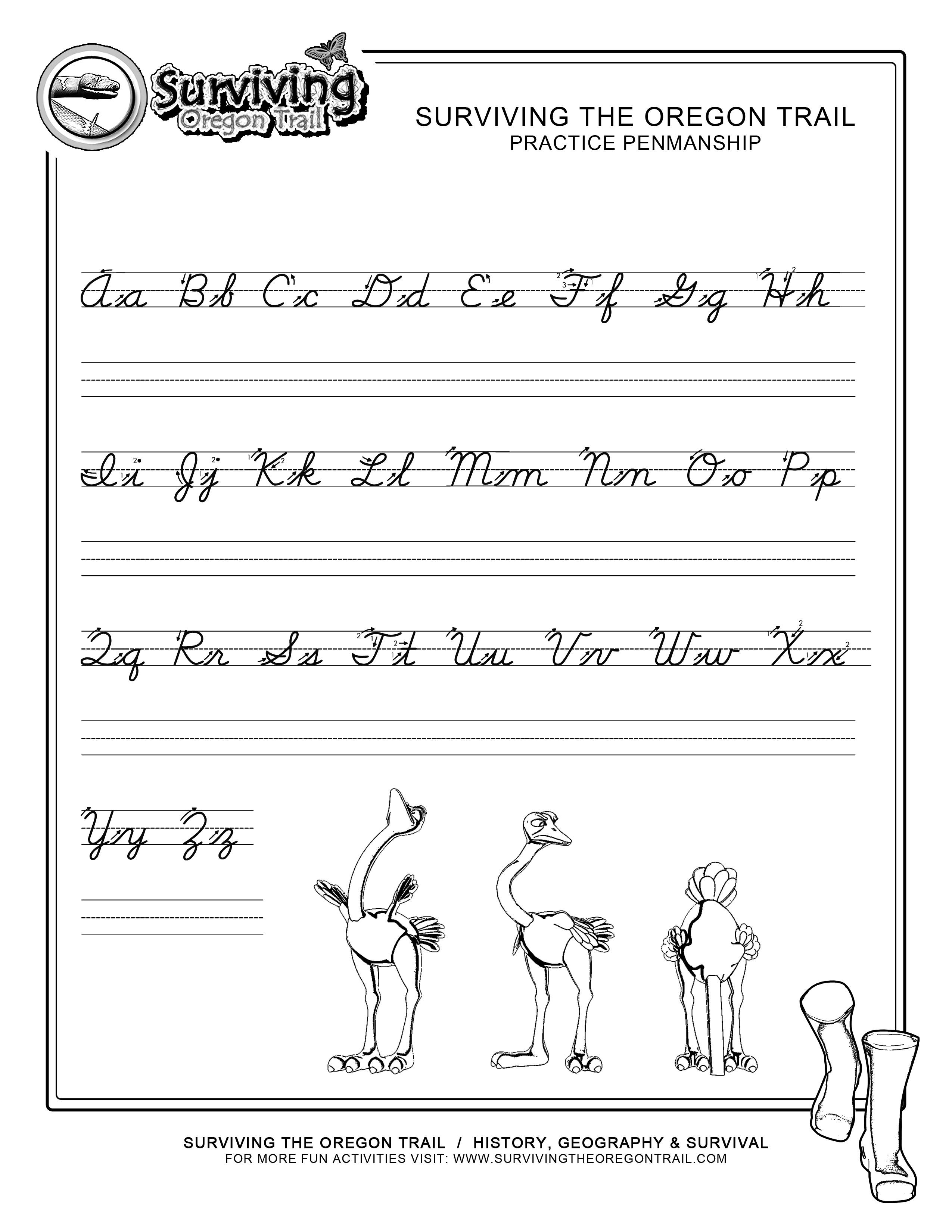 Practice Penmanship Cursive Worksheet Lg Surviving The