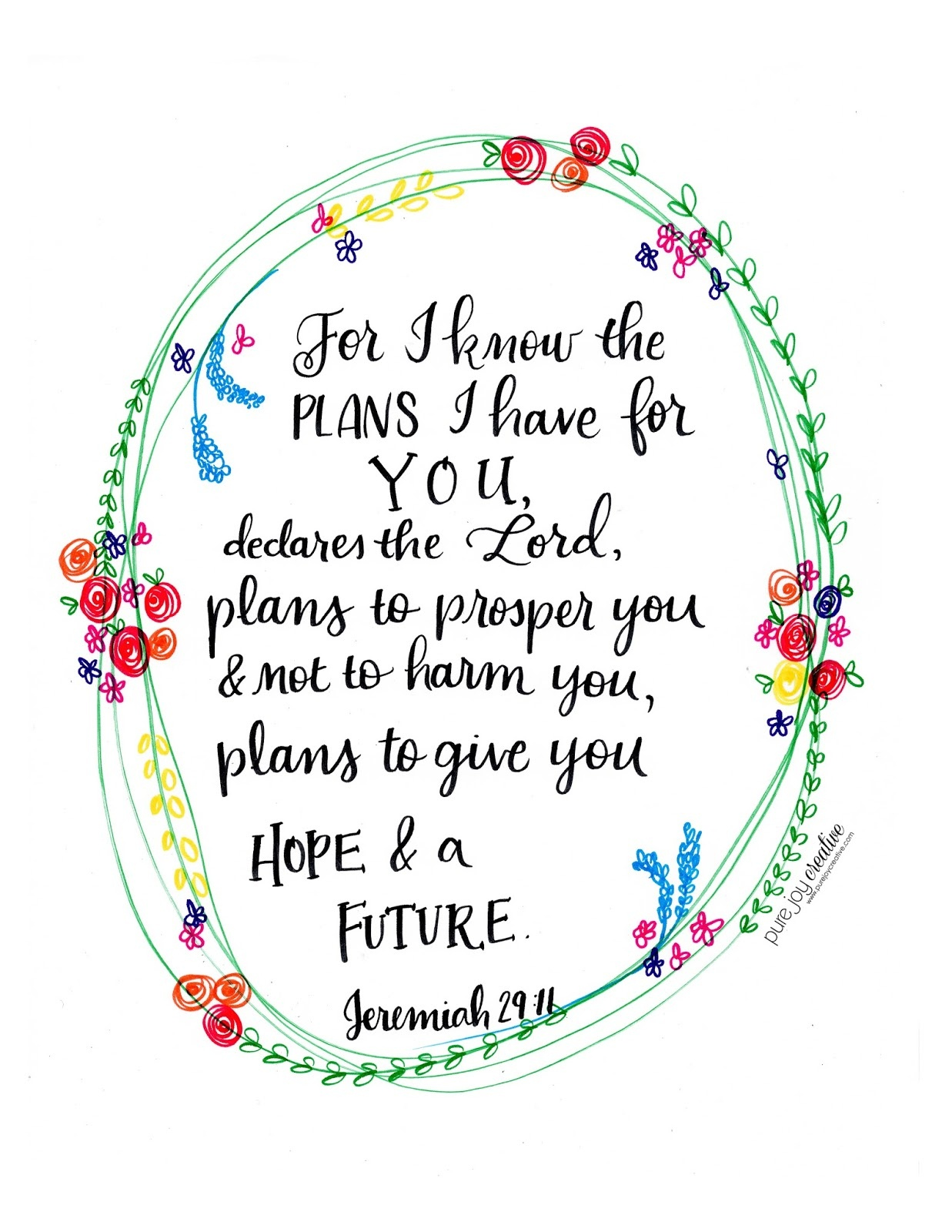 Pure Joy Creative Jeremiah 29 11 Free Printable