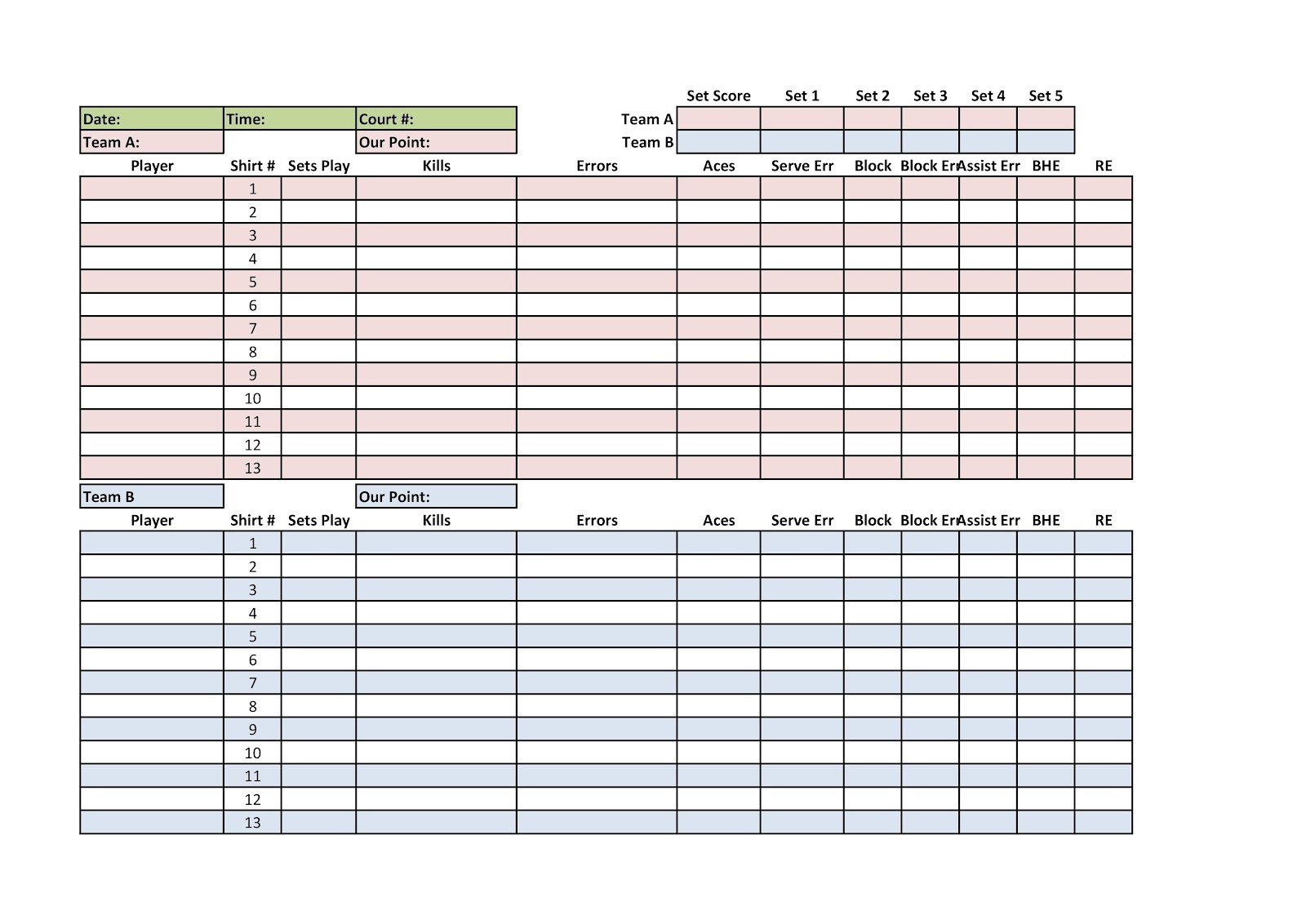 Printable Volleyball Stat Sheets Free