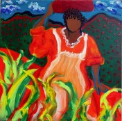 """Lady in the Marsh"" Acrylics on canvas 12"" H x 12"" W x 1.5"" D"