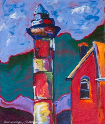 """Red Lighthouse"" Acrylics on canvas 24"" H x 20"" W x 1.5"" D"