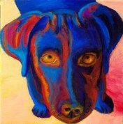 """Blue Dog Looking Up"" Oil on Canvas 10""H x 10""W x 1.5""D"